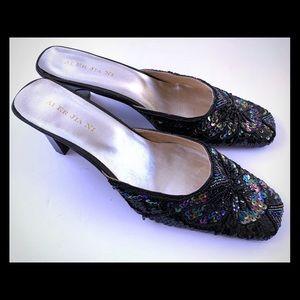 Black medium heeled sandals sparkling sequence 41